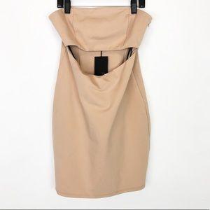 NBD Strapless Cutout Waist Sexy Club Mini Dress